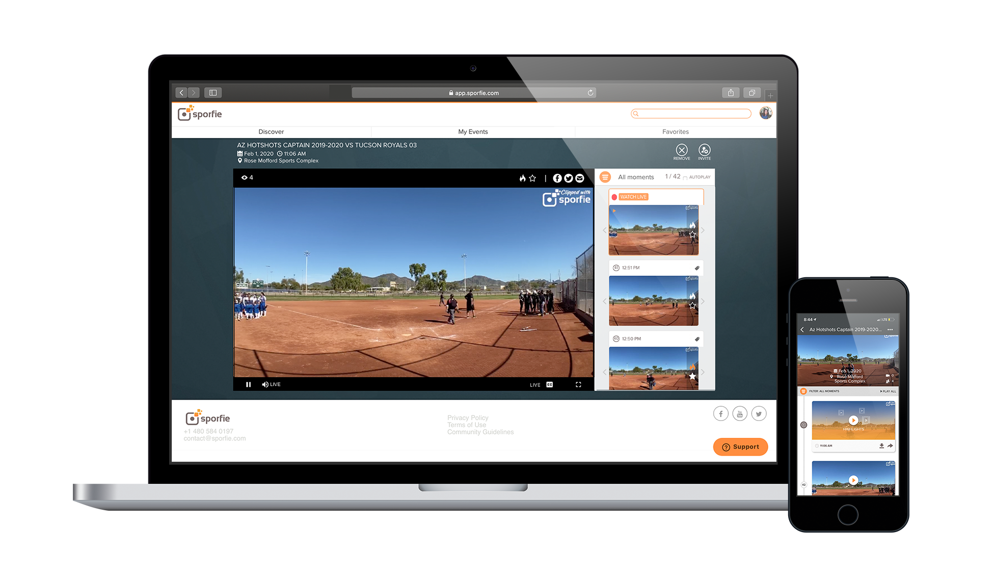 Sporfie live streaming on mobile and desktop